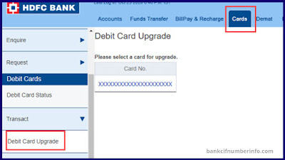 Select Debit cards option in internet banking