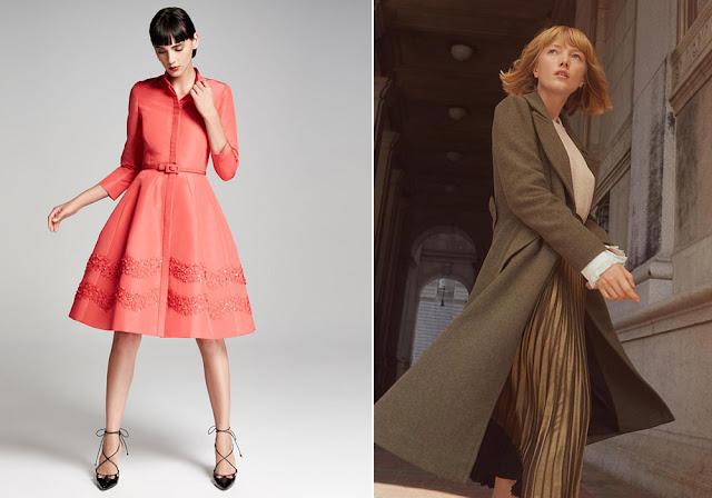 Розовое платье и коричневое пальто