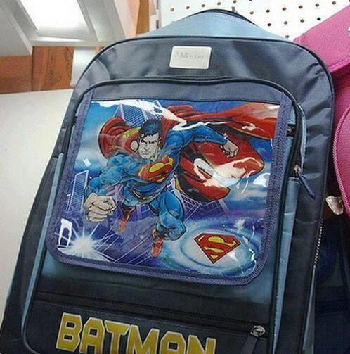 """Can you figure out what's wrong with this """"Batman"""" school bag?"""