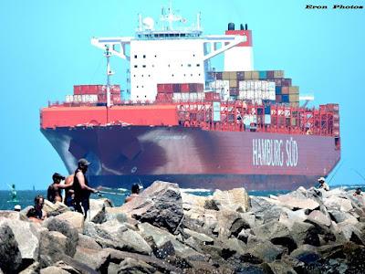 Navio Container Chegando Porto