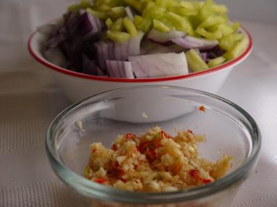 chopped onions and garlic