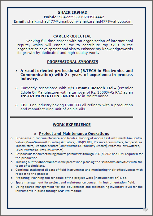 resume 30 years experience