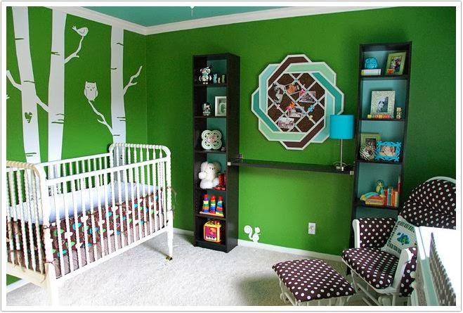 Dormitorios en verde y marr n para beb s dormitorios - Paredes en verde ...