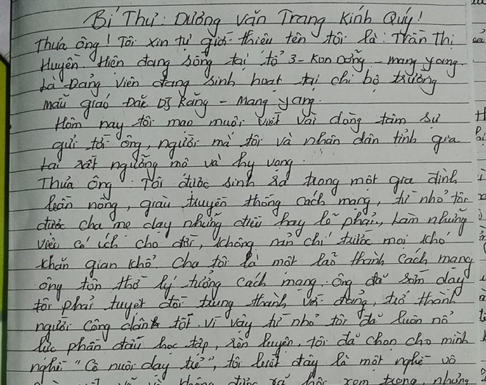Gia Lai: Tâm thư gửi bí thư tỉnh uỷ của cô giáo tố cáo tiêu cực