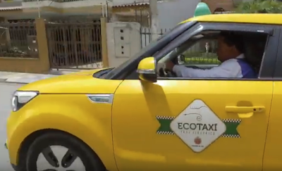 Eco-taxi in the boxy style with a higher roof