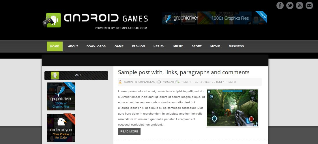 Free Android Games Blogger Template