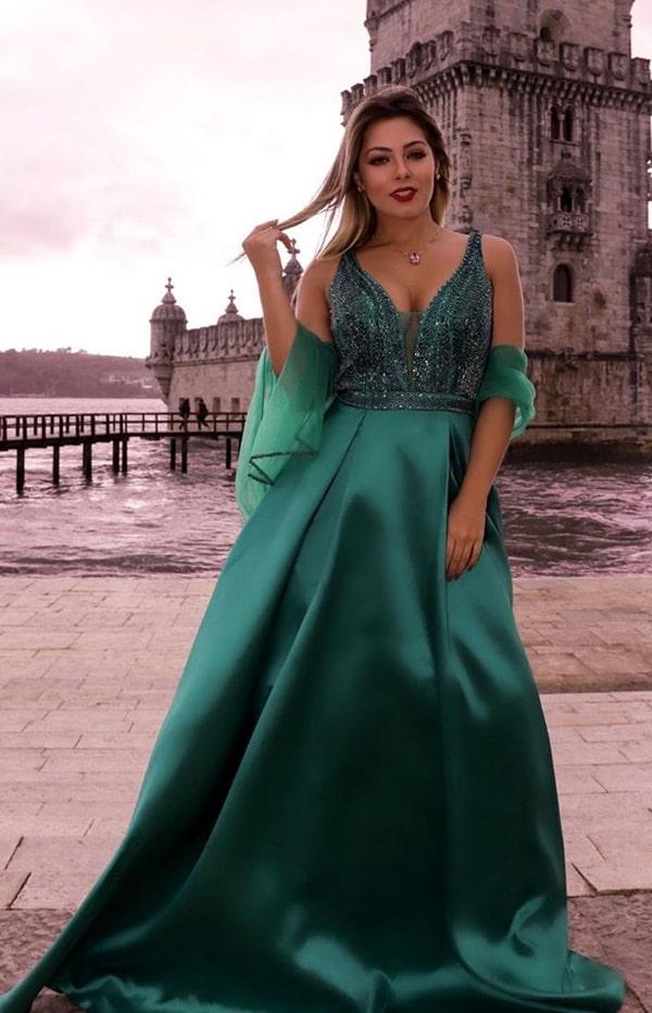 vestido de festa verde madrinha de casamento plus size