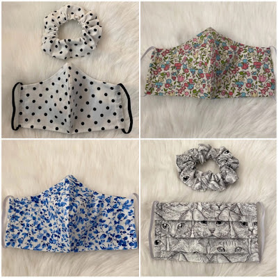cute floral and cat print fabric masks