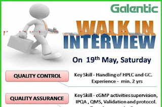 Galentic Pharma:  Walk-In Interviews for Freshers & Experienced Candidates on 19th May