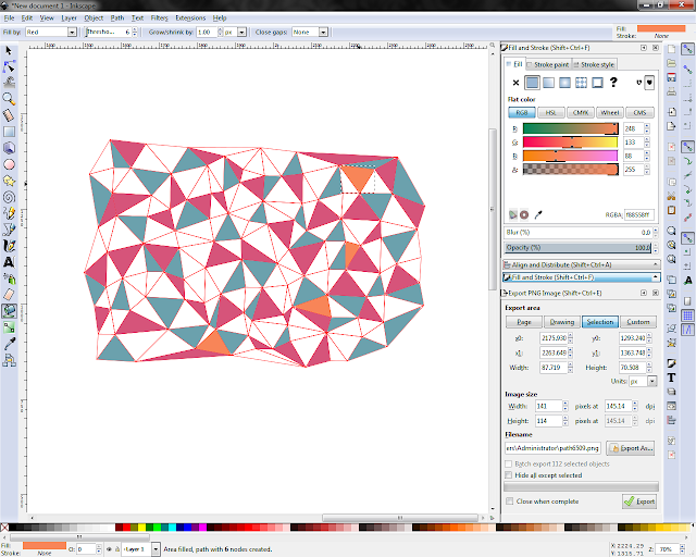 screenshot of filling Delaunay triangles using the fill tool in Inkscape 0.91