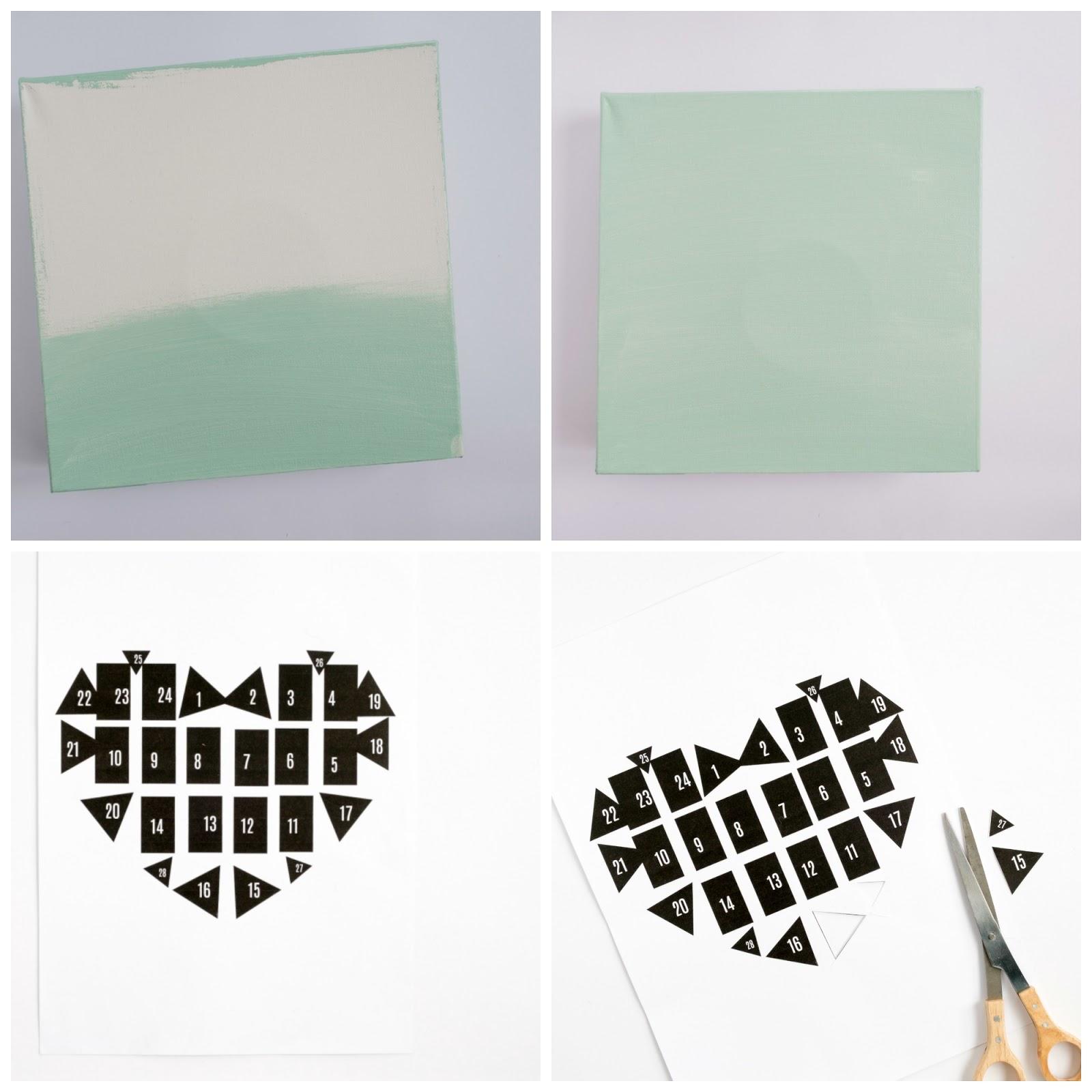 Canvas met een hart als prikbord stap voor stap