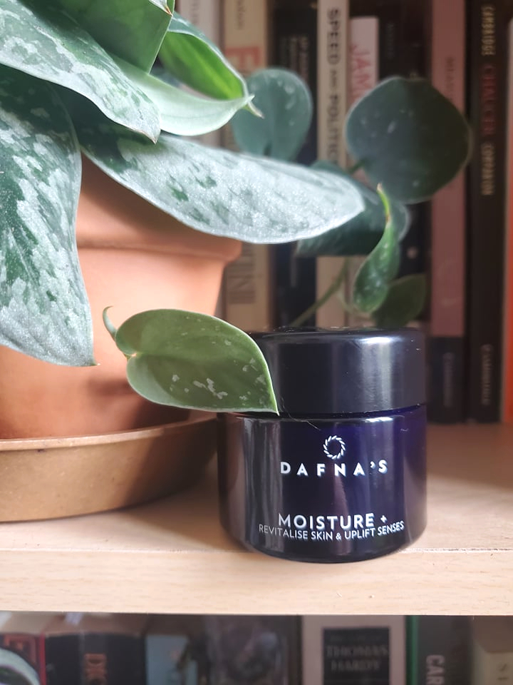 Dafna's Skincare Moisture Plus cream on a bookshelf surrounded by books and a silver pothos