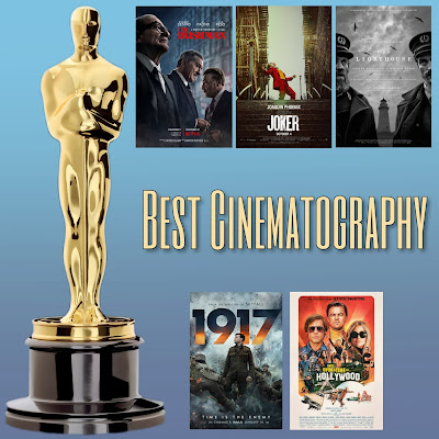 Best Cinematography nominees movie posters for 1917, Once Upon a Time in Hollywood, The Lighthouse, The Irishman, and Joker