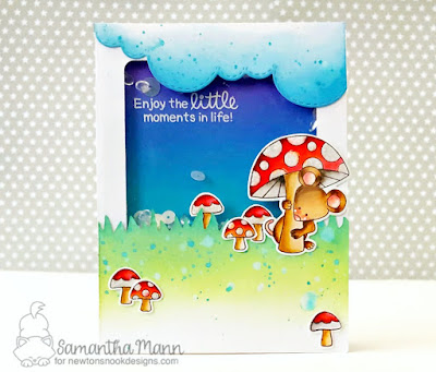 Enjoy the Little Moments Card by Samantha Mann, Newton's Nook Designs, mushrooms, mice, shaker card, #newtonsnook, #handmadecard, #distressoxide #inkblending, #shakercard