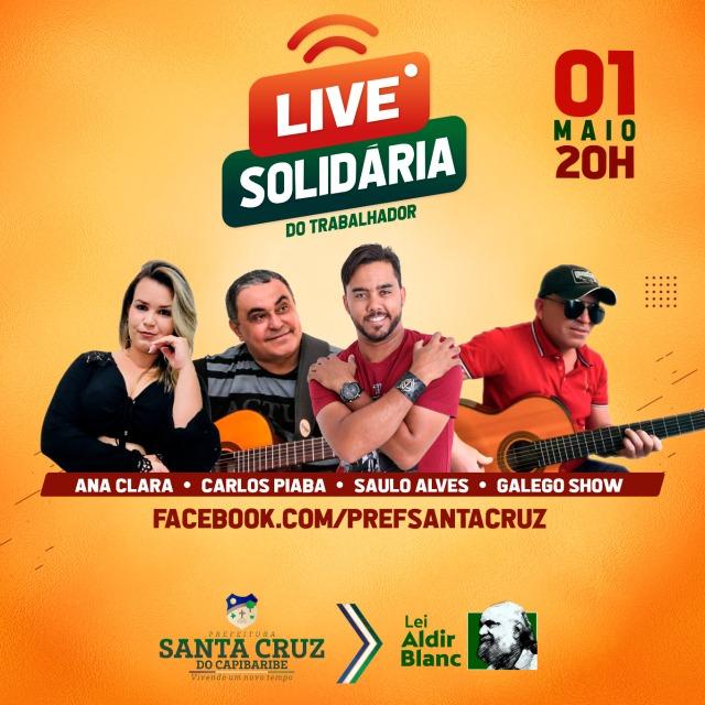 Diretoria de Cultura fará Live Solidária no Dia do Trabalhador em Santa Cruz