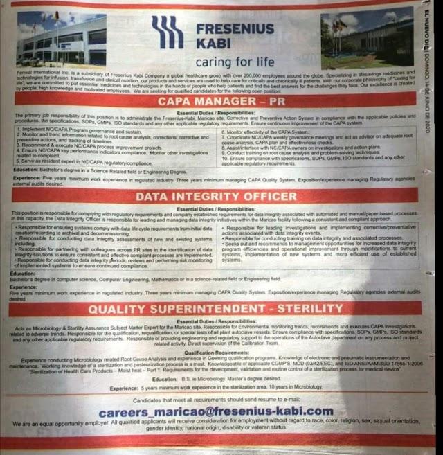Fresenius Kabi   Urgent openings in Multiple Positions   Send CV