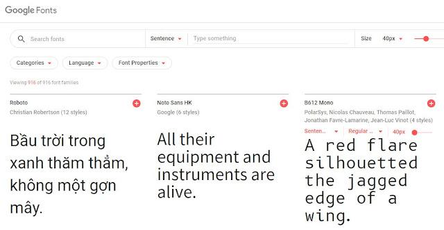 Thư viện Font Google