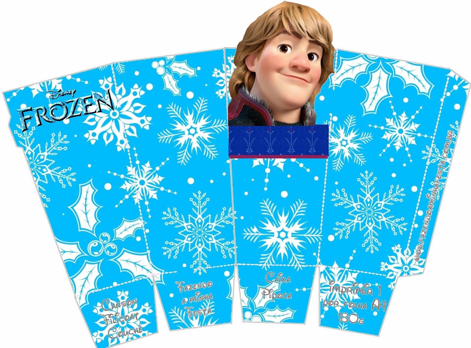 Frozen: Caja de Kristoff para Popcorn, para Imprimir Gratis.
