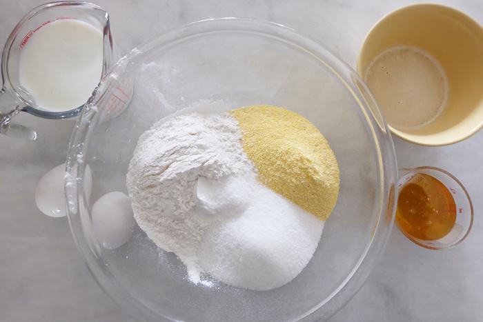 honey cornbread muffin ingredients prepped