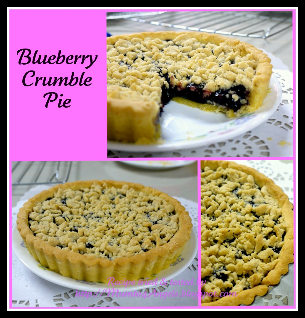 Blueberry Crumb Pie: A Mum To 4 Angels: Blueberry Crumble Pie