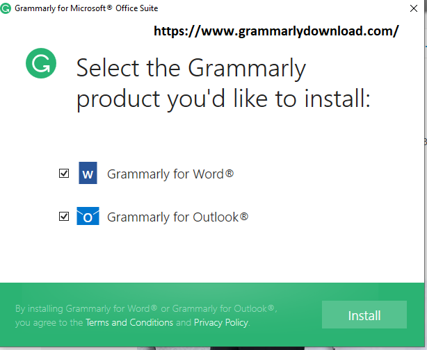 Download Grammarly for Microsoft® Office and installing it.