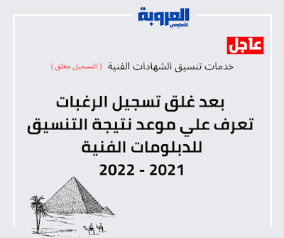 عاجل : بعد غلق تسجيل الرغبات تعرف علي موعد نتيجة التنسيق للدبلومات الفنية 2021