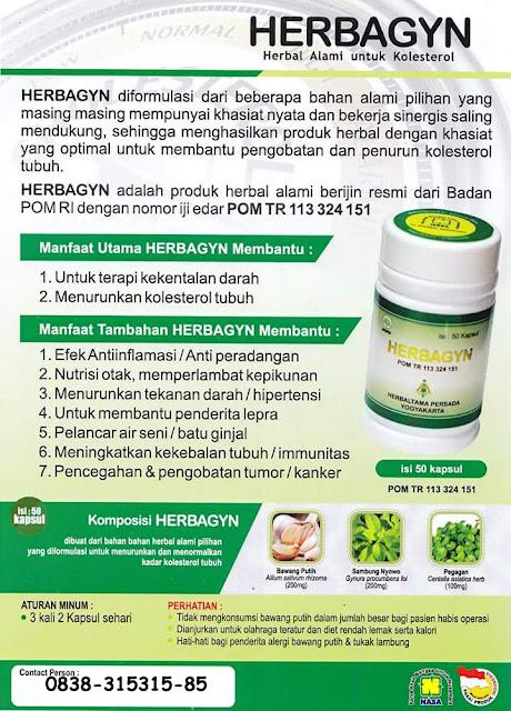 Herbagyn Herbal Untuk menyembuhkan Kolesterol