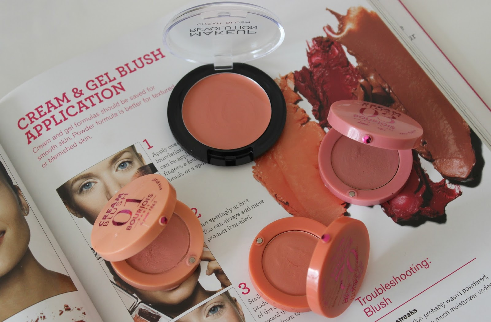 A picture of high-street cream blushes including Bourjois and Makeup Revolution