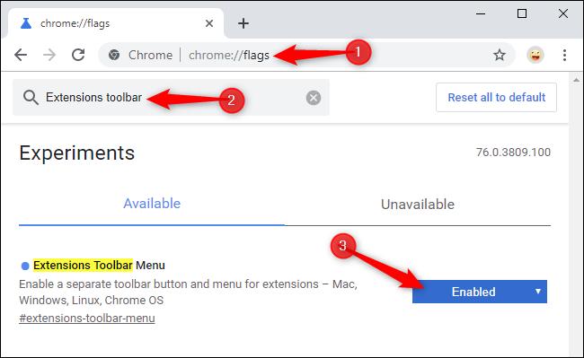 تمكين قائمة شريط أدوات الامتدادات الجديدة في Chrome في صفحة العلامات
