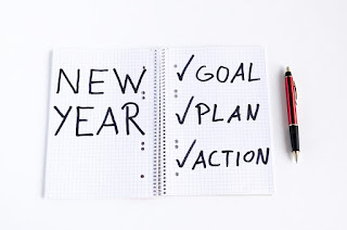 Notebook, New Year on one page, Goal/Plan/Action on the other