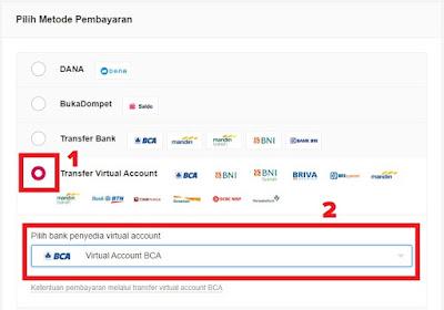 Pilih metode pembayaran virtual account BCA