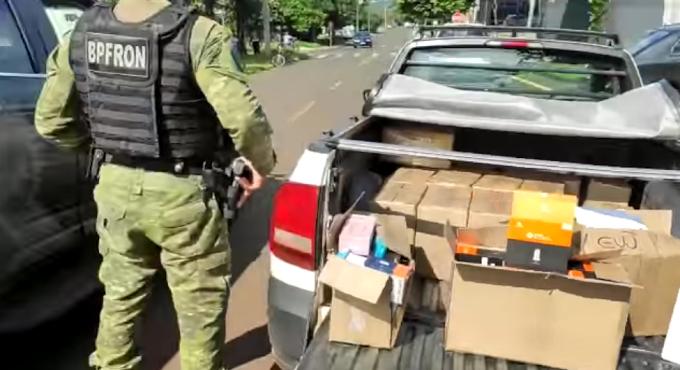 Veículo carregado com essências de narguilé é apreendido pela BPFron na região