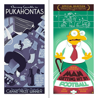 "The Simpsons ""Springfield Film Festival"" Screen Prints by Dave Perillo x Bottleneck Gallery x Acme Archives - ""Pukahontas"" & ""Man Getting Hit By Football"""