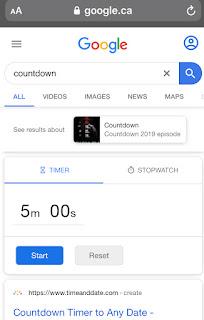 Raccourci Countdown de Google