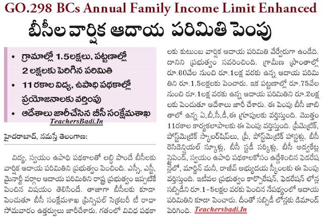 GO.298,BCs Annual Family Income Limit, schemes prorammes