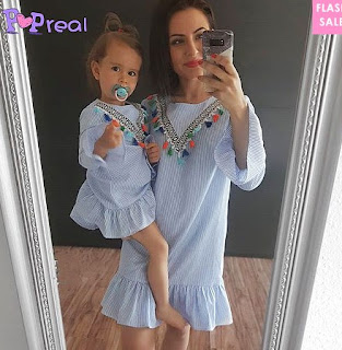 https://www.popreal.com/Products/mom-girl-stripes-tassels-frill-sleeve-dress-5066.html?color=blue