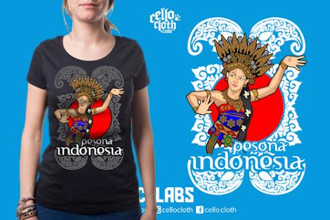 Tari Bali Kaos Pesona Indonesia - Contoh Desain Kaos Sablon Rubber Plastisol