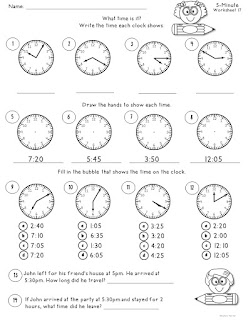 FREE TIME Worksheet to 5 Minutes