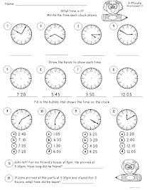 Free Time Worksheet Nearest 5 Min