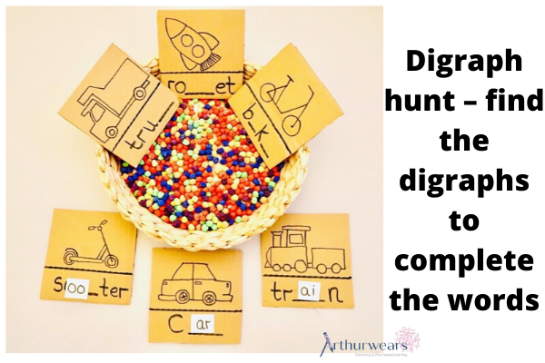 digraph hunt - find the digraphs to complete the words