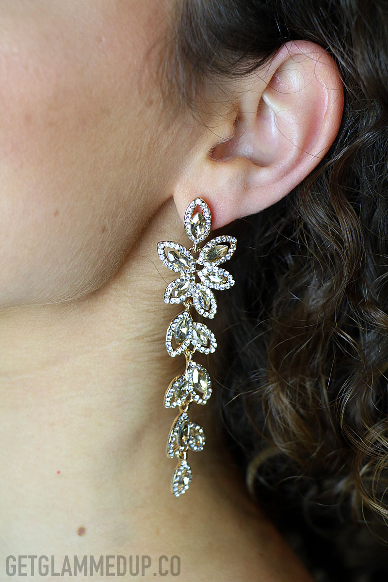 Affordable bridal jewelry, champagne drop earrings