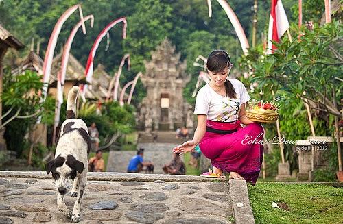 Wanita Bali Sembahyang Bawa Banten