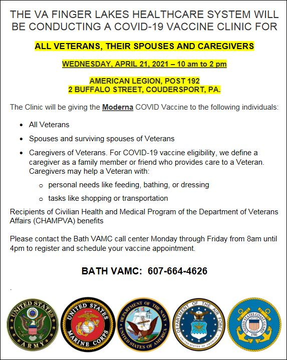 4-21 Veterans Covid 19 Vaccine Clinic