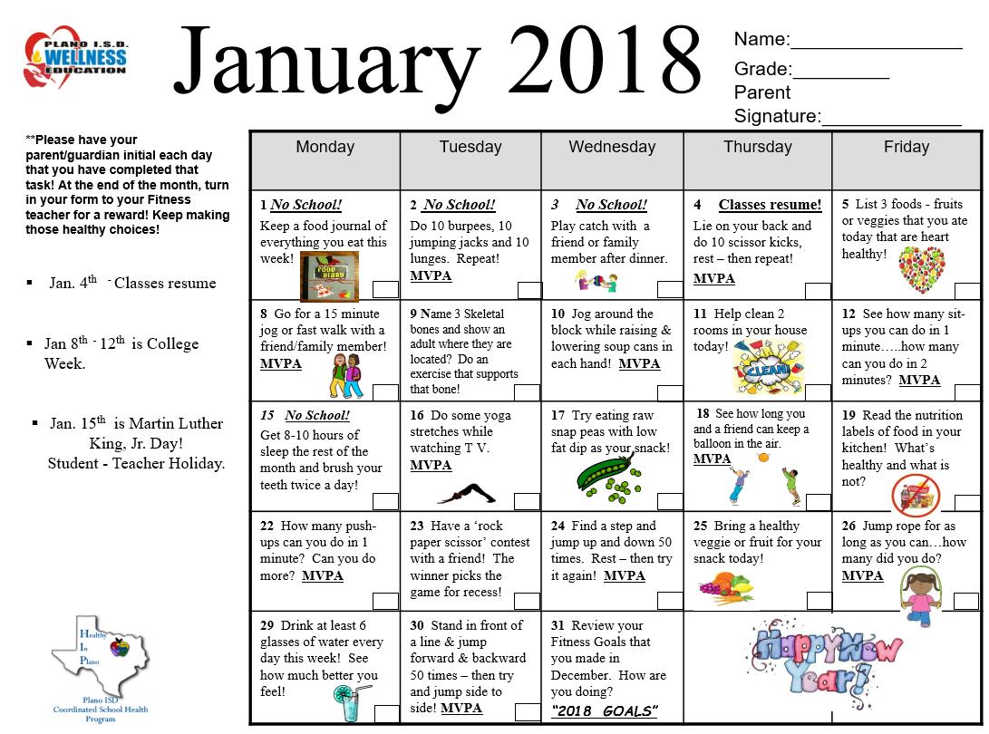 Christie Pe Happy Holidays January Fitness Calendar