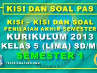 Penilaian Akhir Semester (PAS) Kelas 5 Semester 1 Tahun Pelajaran 2020 - 2021