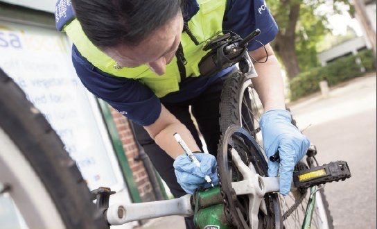 Image of bike security marking by Hertfordshire police - image courtesy of Herts Constabulary