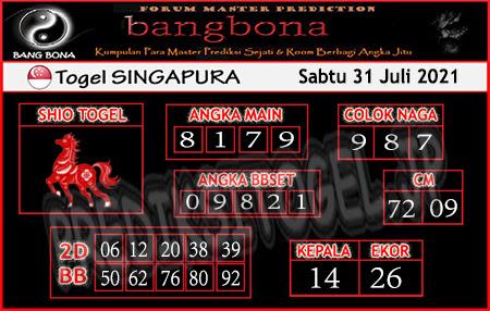 Prediksi Bangbona SGP Sabtu 31 Juli 2021