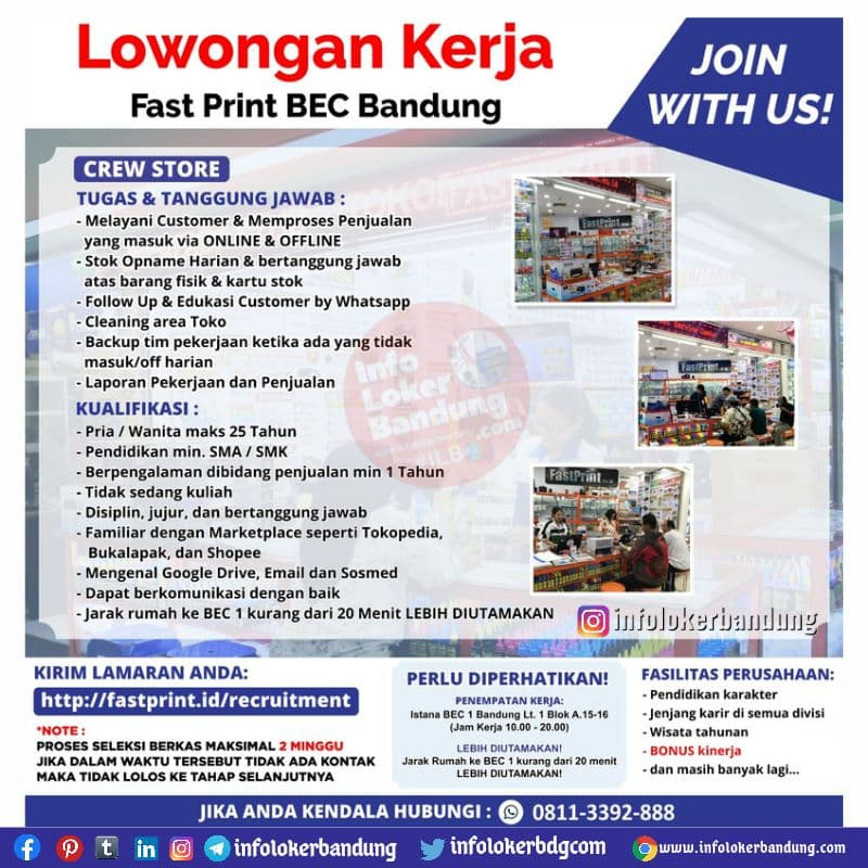 Lowongan Kerja Crew Store Fast Print Cabang BEC Bandung September 2021