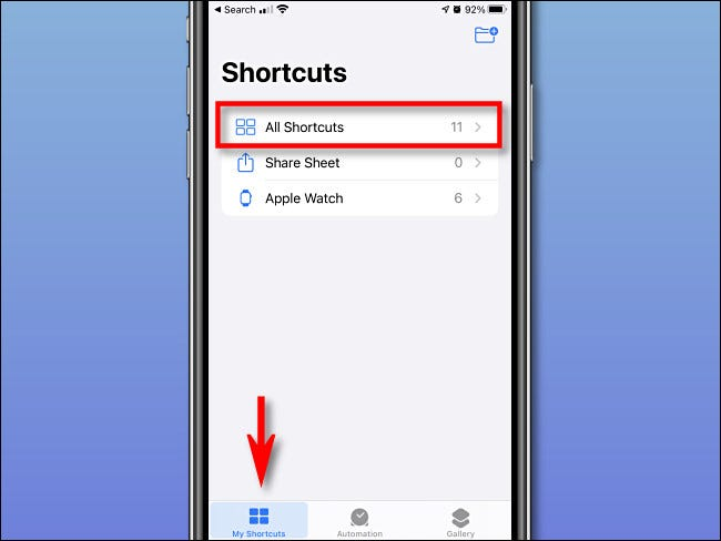 "اضغط على ""My Shorcuts"" و ""All Shortcuts"" على iPhone."