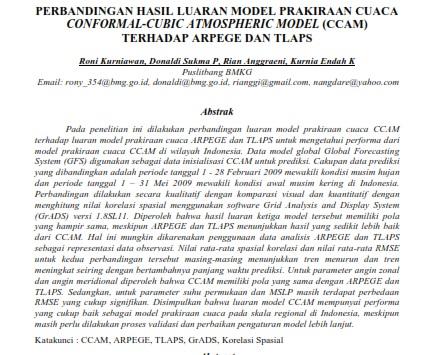 Perbandingan Hasil Luaran Model Prakiraan Cuaca Conformal-Cubic [PAPER]